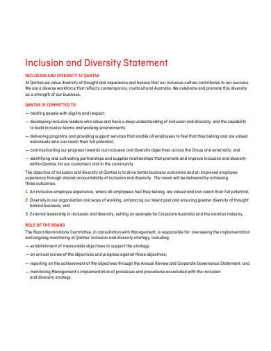 inclusion and diversity statement template