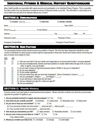individual fitness medical history questionnaire template