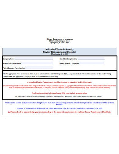 individual variable annuity checklist