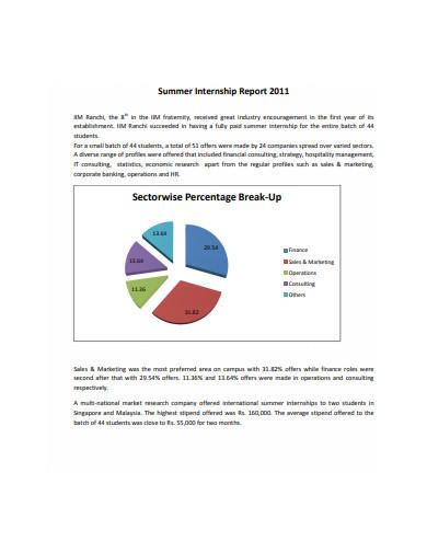 industry summer internship report