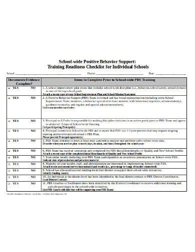 infrastructure school checklist