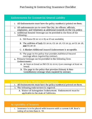 insurance commercial liability checklist template