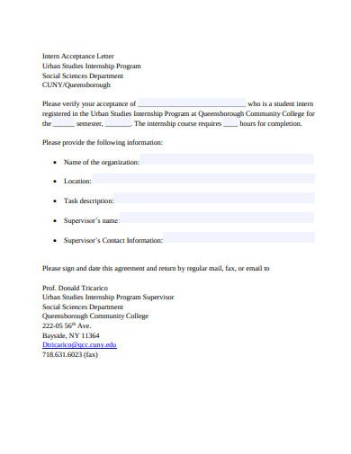 intern acceptance letter template