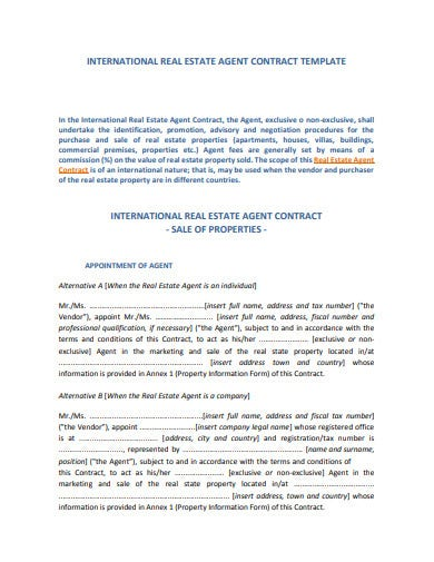 international real estate agent contract template