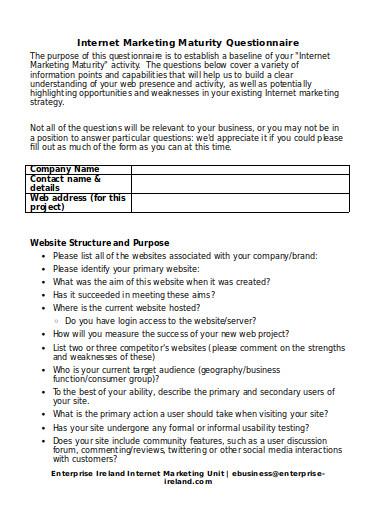 internet marketing maturity questionnaire template