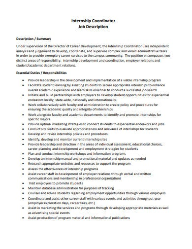 internship coordinator job description