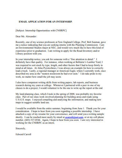 internship email application letter template