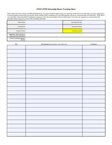 internship hour tracking sheet