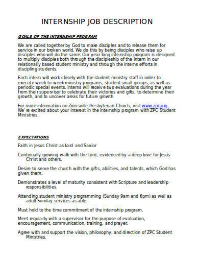 internship job description in doc