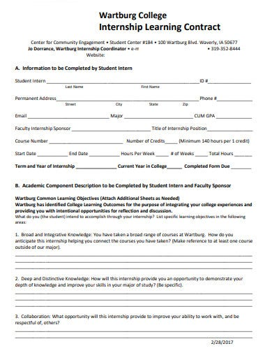internship learning contract format