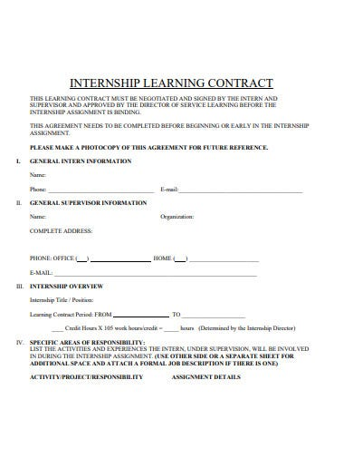 internship learning contract template in pdf