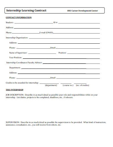 internship learning contract template