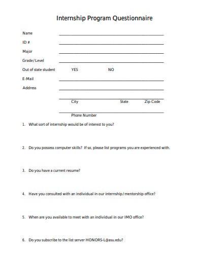 internship program questionnaire template