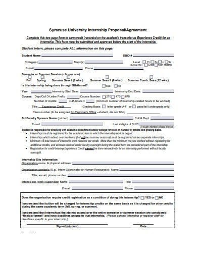 internship proposal agreement template