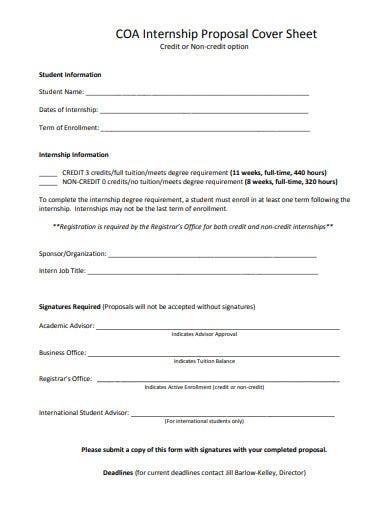 internship proposal cover sheet