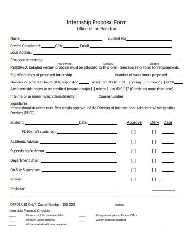 internship proposal form template