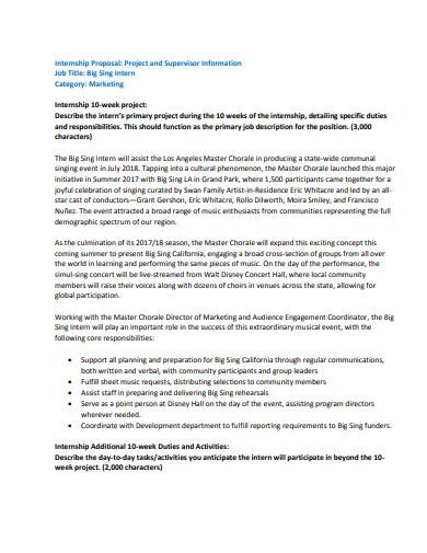 internship proposal project and supervisor