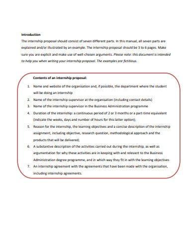 internship proposal template