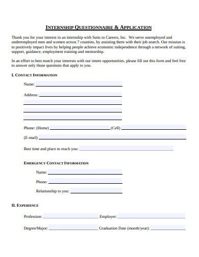 internship questionnaire and application template