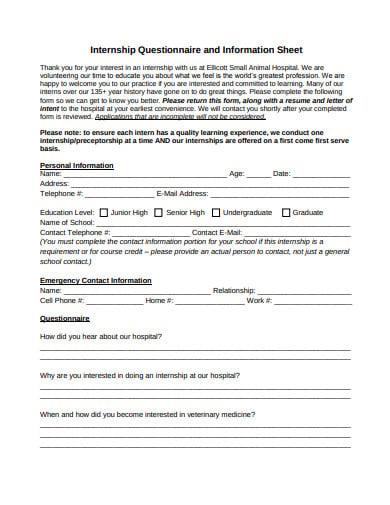 internship questionnaire and information sheet template