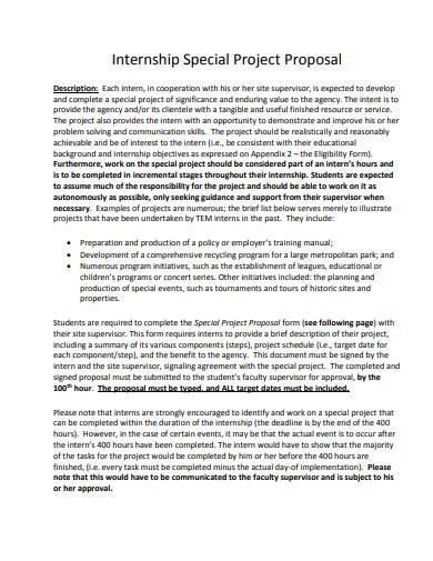 internship special project proposal