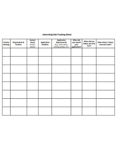 internship tracking sheet template