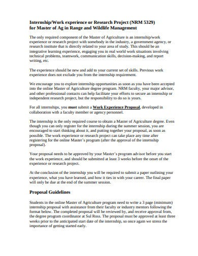 internship experience project proposal