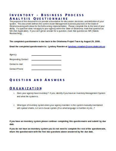 inventory business process analysis questionnaire