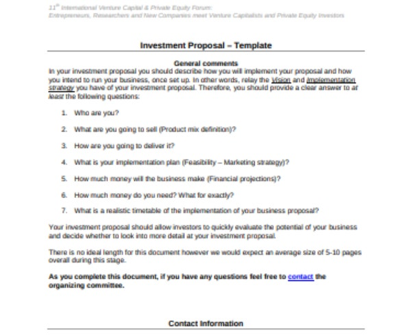 investment proposal 2
