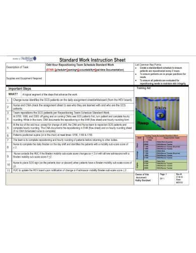 job breakdown sheet download