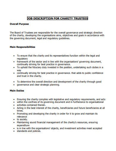 job description for charity trustee