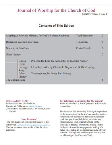 journal of worship for the church template