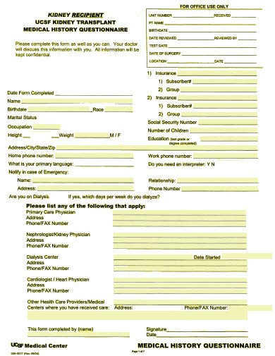 kidney transplant medical history questionnaire template