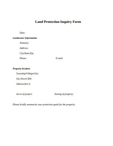 land protection inquiry form template