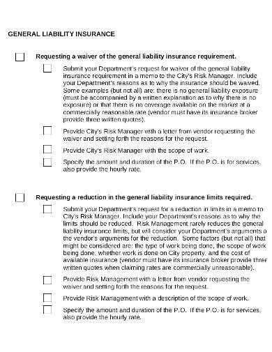 liability insurance checklist in pdf