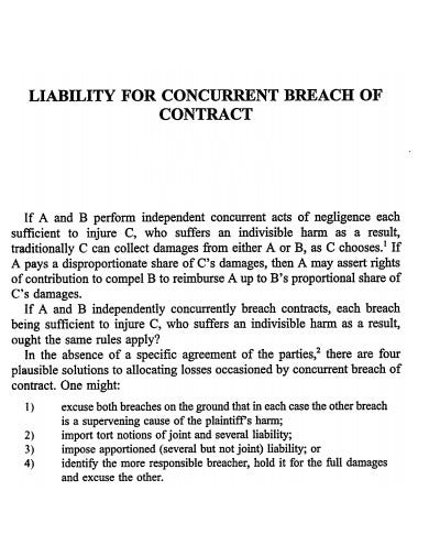 liability for cocurrent breach of contract template