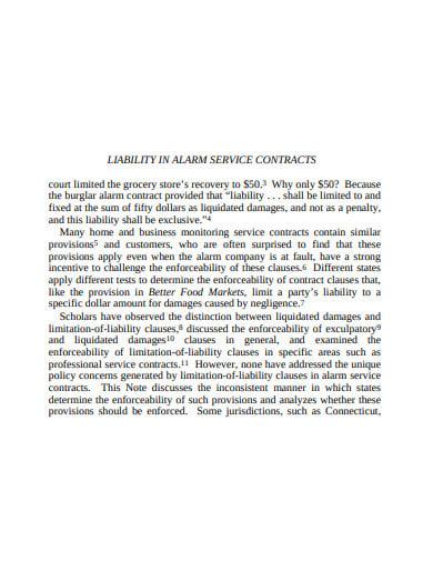 liability in alarm service contract tempate