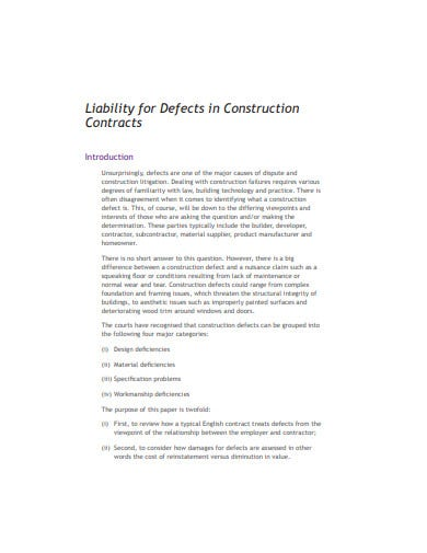 liability of defects in construction contract template