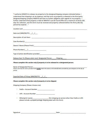 lost and found property release form