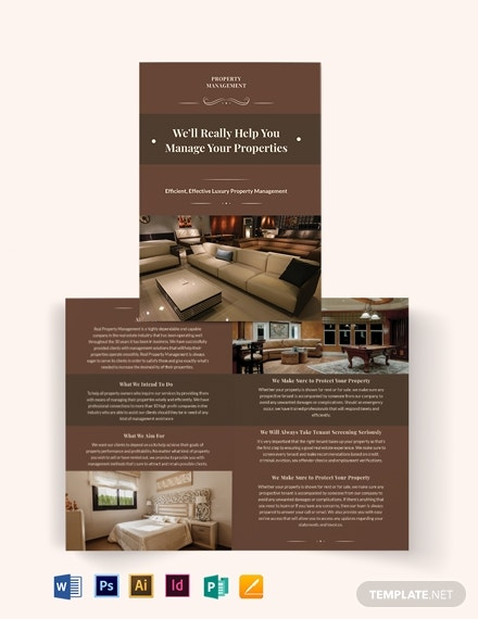 luxury property management bi fold brochure