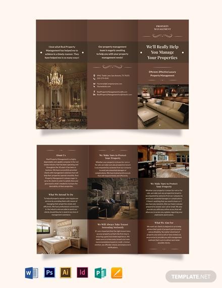 luxury property management tri fold brochure