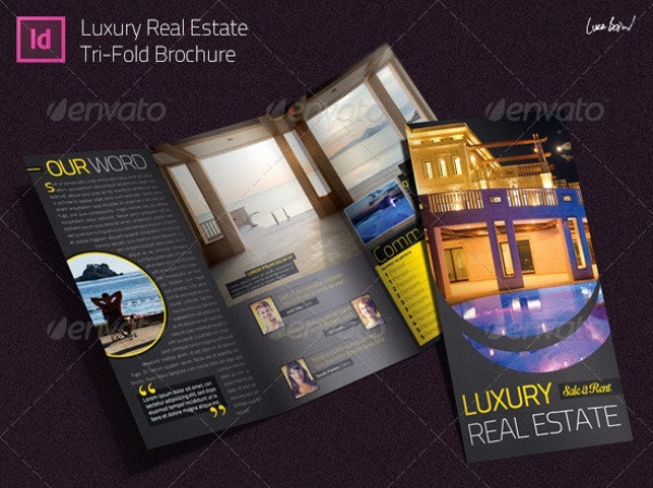 luxury real estate indesign trifold brochure