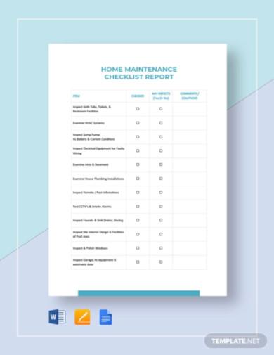 maintenance checklist template1