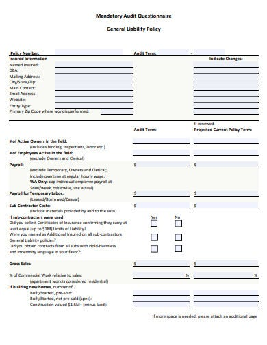 mandatory audit questionnaire template