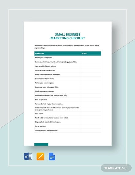 marketing checklist for small business template