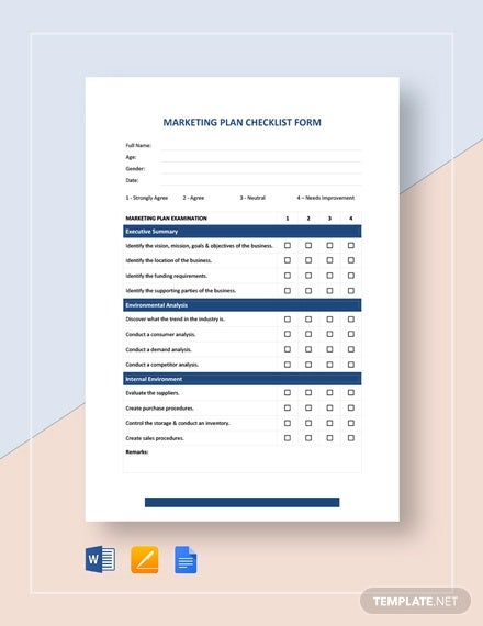 marketing plan checklist form template