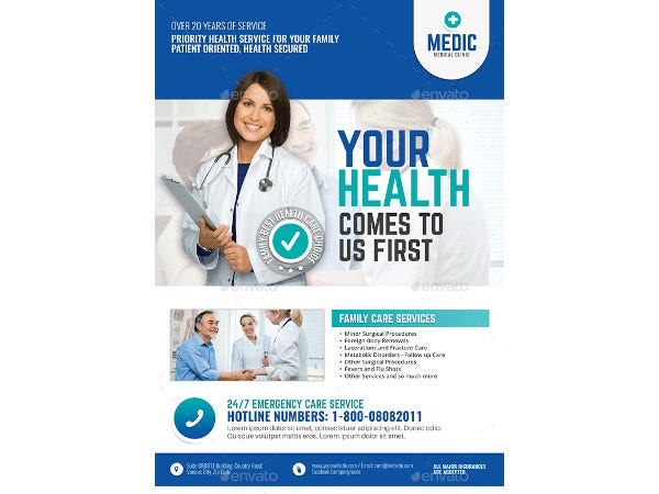 medical center and clinic promotional flyer