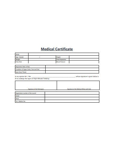 medical certificate form example