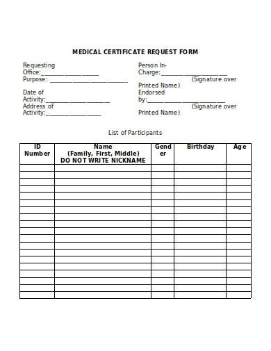 medical certificate request form template