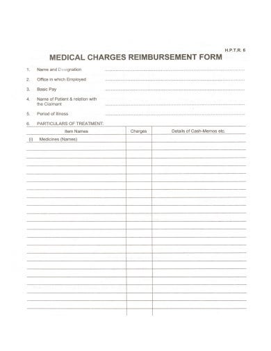 medical-charges-reimbursement-form-template